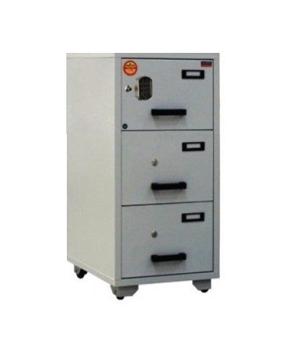 Valberg FC 3E-KK Fire Resistant 3 Drawer Filing Cabinet, 2 Key Lock + 1 Digital Lock