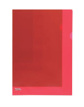 Durable Transparent L-Shaped File Folder Red - Set of 3 (50 Pcs in 1 Pack)