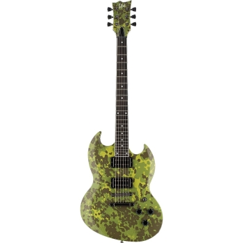 ESP LVOLSUNGDBLKS LTD Volsung Lars Frederiksen Distressed Black Satin Finish Signature Guitar