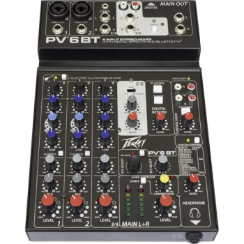 Peavey PV 6BT Compact Mixer 6 Channel With Bluetooth Mixer