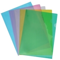 Durable Transparent L-Shaped File Folder Green - Set of 3  (50 Pcs in 1 Pack)