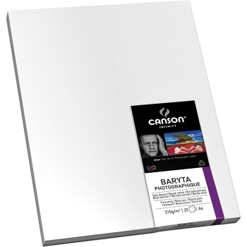 """Canson 17 x 22"""" Infinity Baryta Photographique Pure White Inkjet Paper, 310 GSM-Satin, 25 Sheets"""
