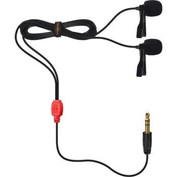 Comica Audio CVM-D02 Dual Omnidirectional Lavalier Microphones Red 2.5m