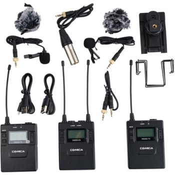 Comica Audio CVM-WM300A Wireless Microphone System with Rechargeable Batteries