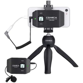 Comica Audio CVM-WS50C Wireless Microphone with Mini Tripod for Smartphones
