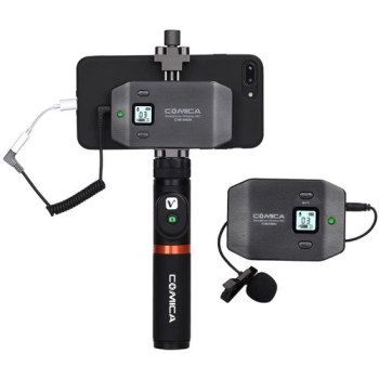 Comica Audio CVM-WS50A Wireless Microphone System with Handle Grip and Bluetooth Controller for Smartphones