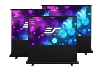 "Elite Screens ezCinema 90"" Tab-Tension Series Projection Screen With Floor Stand"