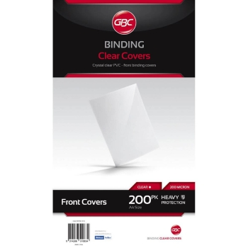 GBC BINDING COVERS PVC HICLEAR TRANSPARENT A4 180MIC PACK OF 100