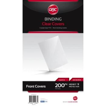 GBC BINDING COVERS PVC OPAQUE GLOSS BLACK A4 200MIC PACK OF 100