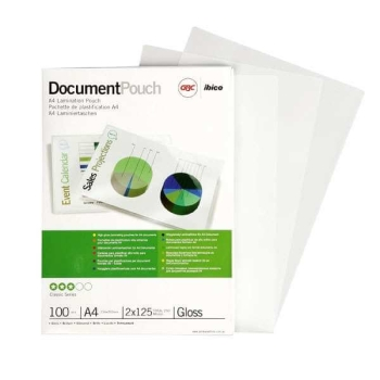 GBC LAMINATING POUCH GLOSS A4 / 303X216 125X2 MICRON PACK OF 100