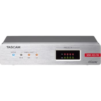 Tascam MM-4D/IN-X 4-Channel Mic/Line Input Dante Converter with Built-In DSP Mixer