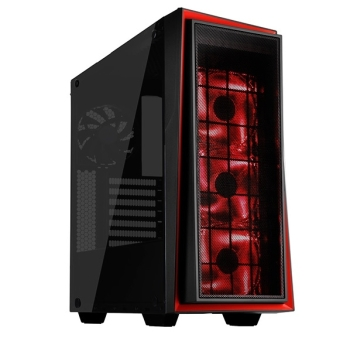 SilverStone SST-RL06BR-GP Primera Series Computer Case (Black with Red Trim, LED Fans, Tempered Glass Window)