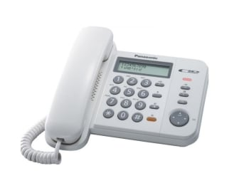 Panasonic KX-TS580MXW 2 Line LCD Display with Caller ID Corded Telephone