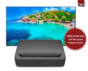"""VAVA 4K UHD Laser Home Theater Projector with 120"""" Pet Crystal  Fixed Frame Projector Screen"""