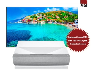 """Optoma CinemaX P2 4K Laser Projector with 120"""" Pet Crystal Fixed Frame Projector Screen"""